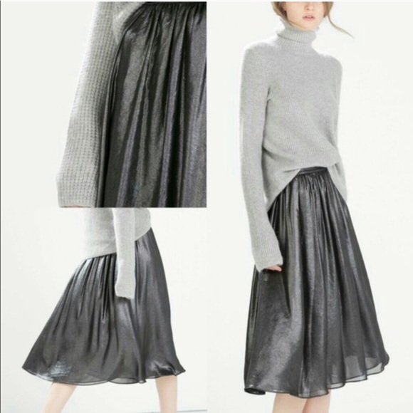 Zara Dresses & Skirts - Zara Metallic Gray Skirt NWT